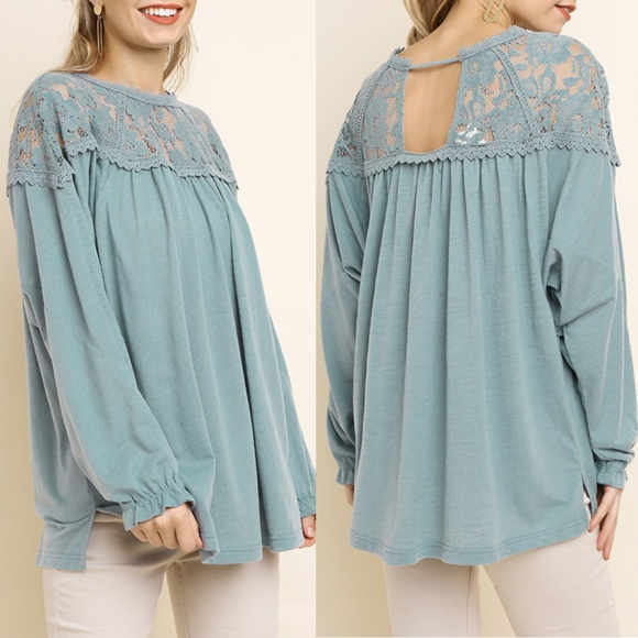 UMGEE Cream Floral Embroidered Slub Knit Top USA Boutique